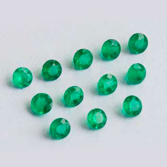 1.92 Ct, Set Round Fine Natural Colombian Emerald Lot