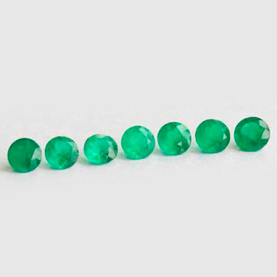 2.3 Ct, Set Round Fine Natural Colombian Emerald Lot