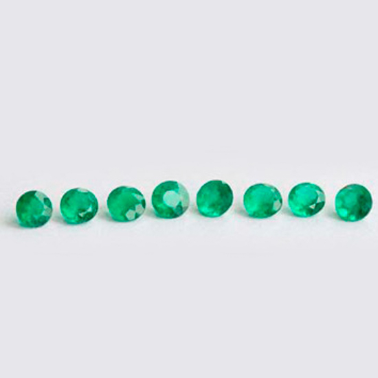 1.89 Ct, Set Round Fine Natural Colombian Emerald Lot