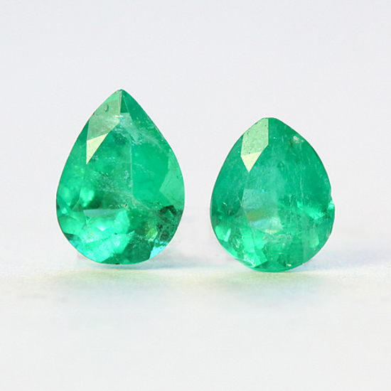 1.3 Ct, Pear Fine Natural Colombian Emerald Pair