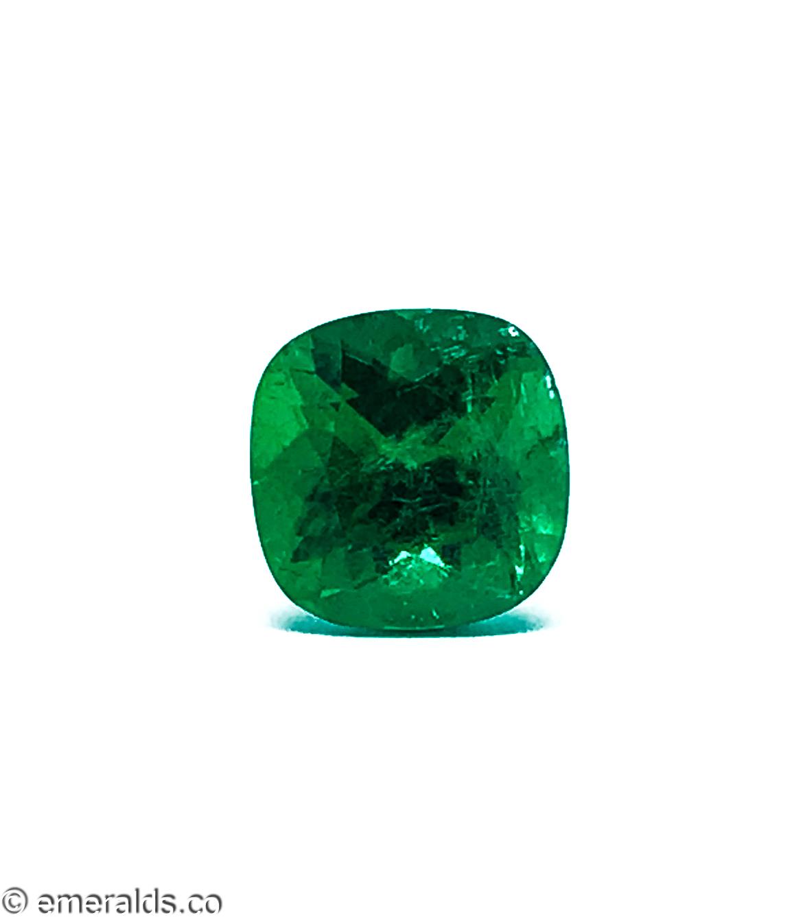 3.18 Fine Colombian Emerald Cushion No Oil Agl/gubelin