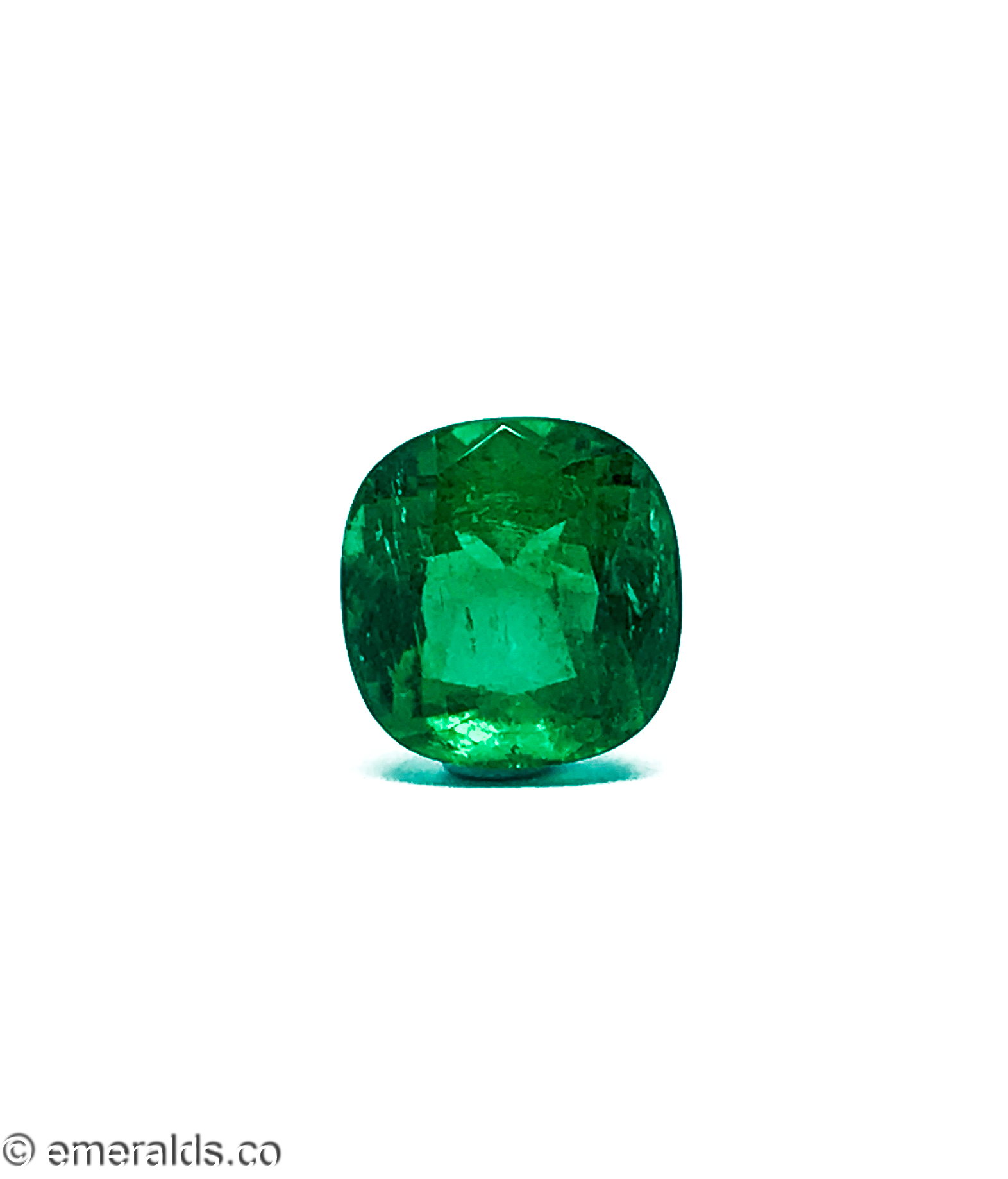 4.20 Fine Colombian Emerald Cushion Minor Vibrant Green Grs